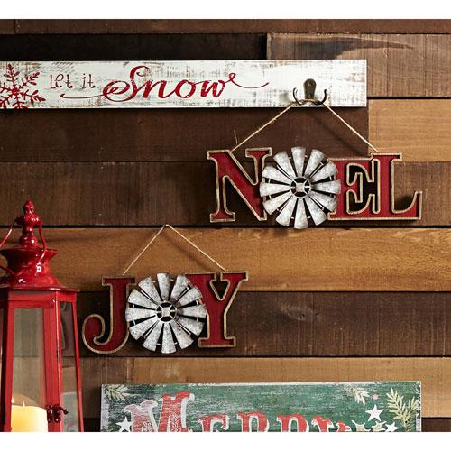 Joy and Noel Windmill Ornaments, Set of Six