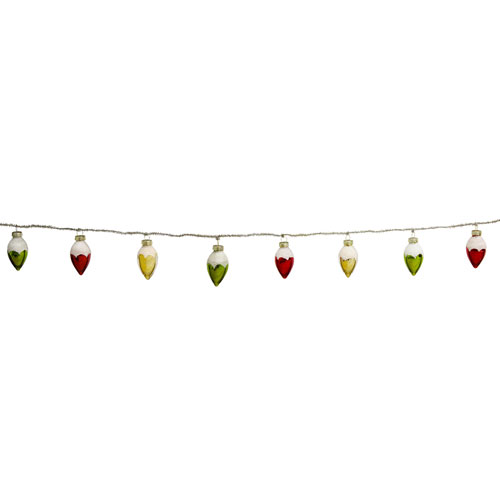 Tinsel and Bulb Garland, Set of Two
