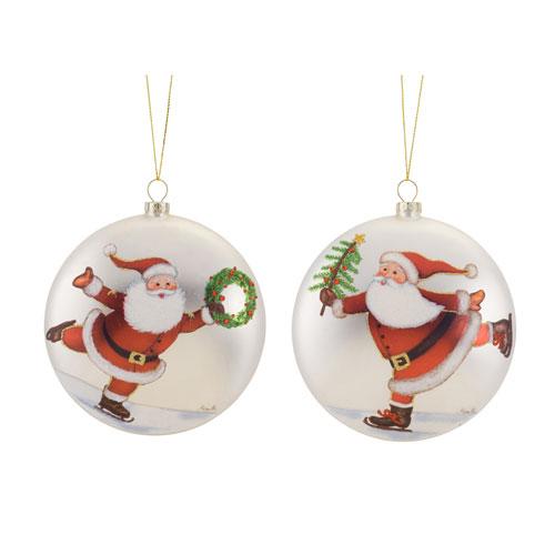 Melrose International Santa on Skates Disc Ornament, Set of Six