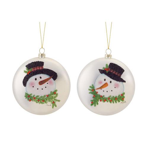 Melrose International Snowman Head Disc Ornament, Set of Six