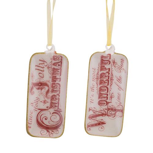 Melrose International Christmas Tag Ornament, Set of Twelve