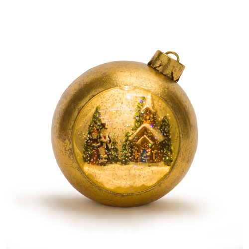 Lighted Musical Snow Globe Carolers Ornament