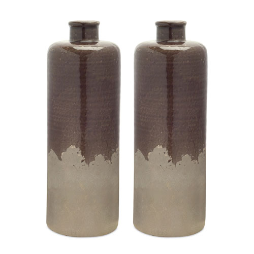 Brown and Gray Tall Vase, Set of Two