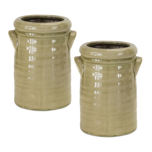 Green Crock, Set of Two