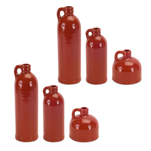 Melrose International Red Jugs, Set of Six
