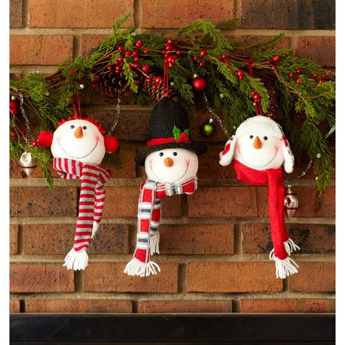 Snowman Head Ornament, Set of Six