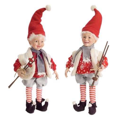 Elf with Ski Poles, Set of Two
