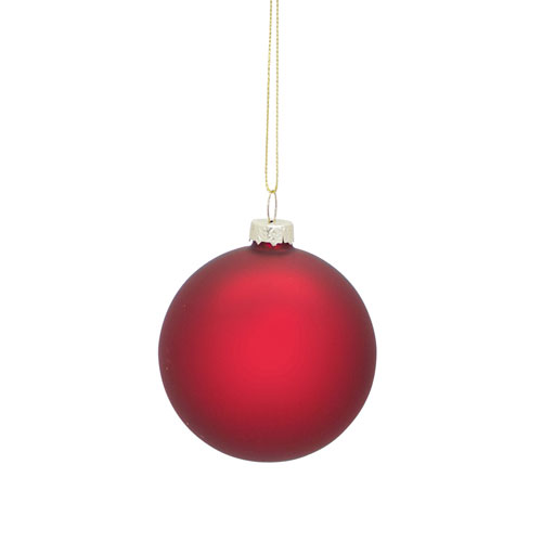 Red Matte Ball Ornament, Set of 12