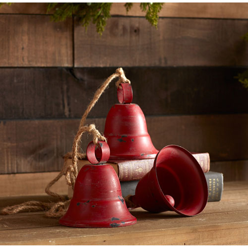 Three Red Bells on Rope, Set of Two