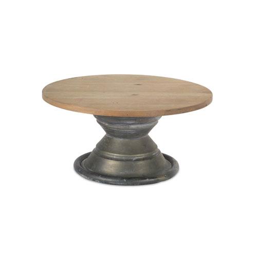 Melrose International Pewter and Natural Round Pedestal
