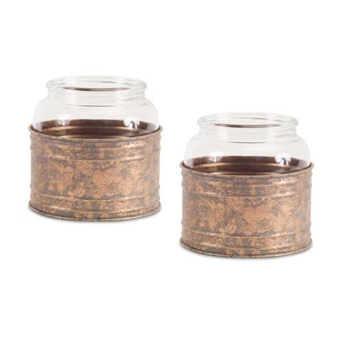 Melrose International Clear and Bronze Short Jar in Holder, Set of Two