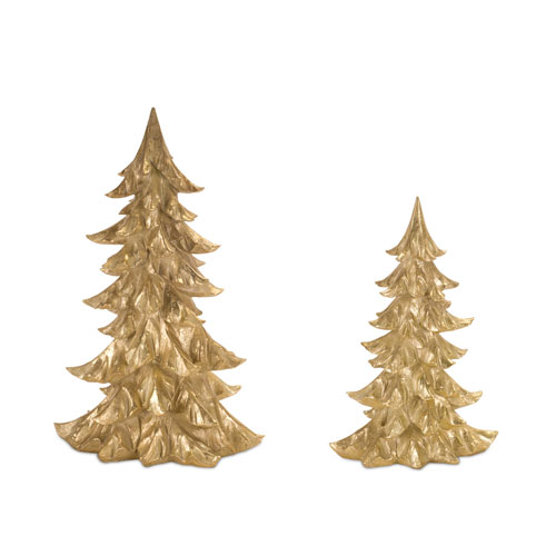 Melrose International Gold Tree, Set of Two