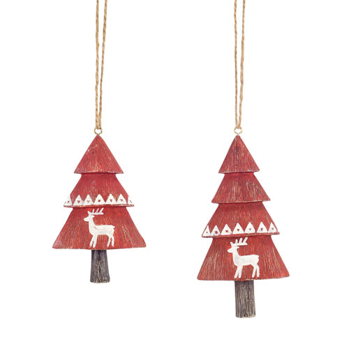 Melrose International Tree with Deer Ornament, Set of Eight