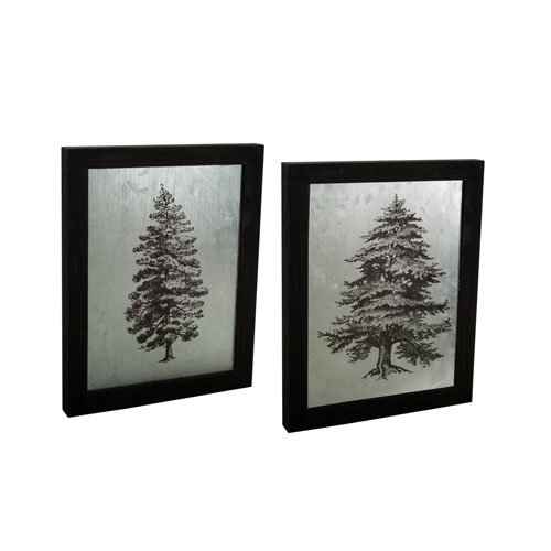 Melrose International Pine and Cedar Tree Plaque, Set of Two