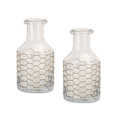 Melrose International Clear Jar with Chicken Wire Wrap, Set of Two