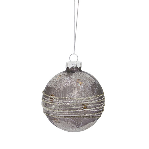 Gray Ball Ornament, Set of Twelve