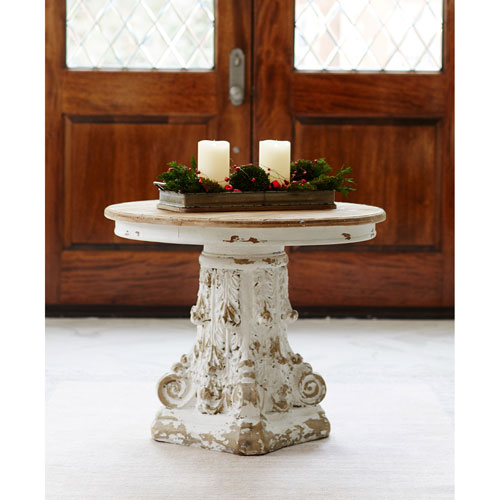 Brown and White 26 In. H Round Table