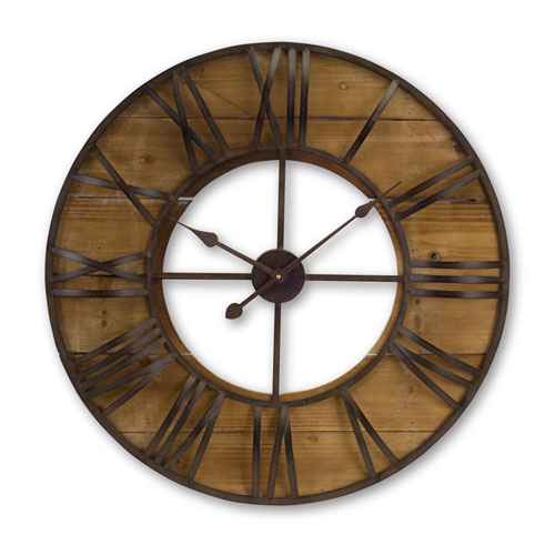 Melrose International Brown And Antique Large Round Wall Clock