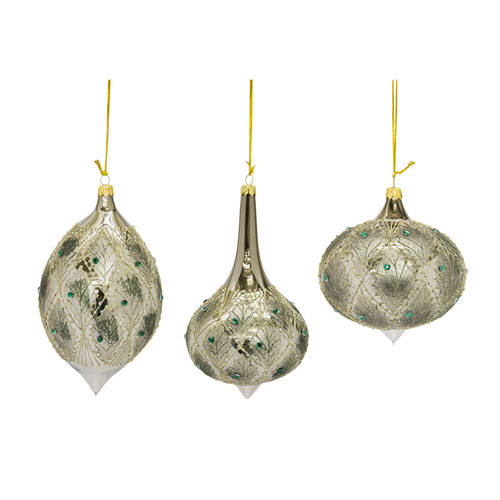Green and Ivory Ornament, Set of Three