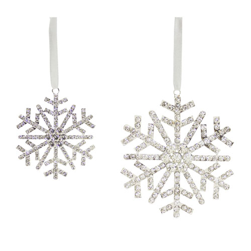 Jewel Snowflake Ornaments, Set of Two
