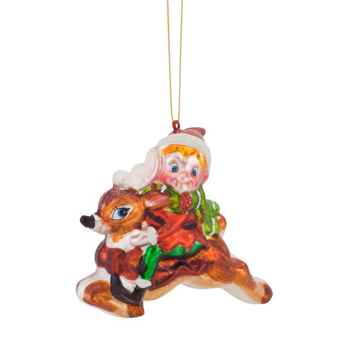 Melrose International Elf with Deer Ornament, Set of Six