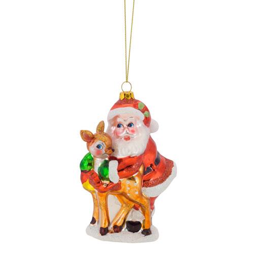 Melrose International Santa with Deer Ornament, Set of Six