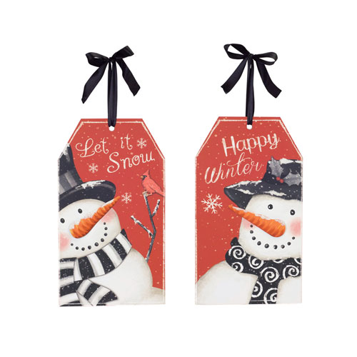 Snowman Tag Sign, Set of Four