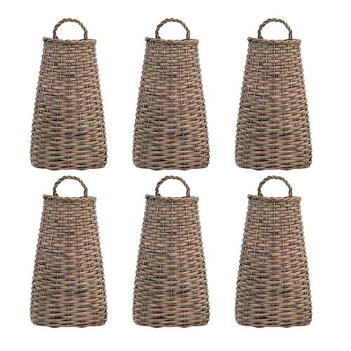 Melrose International Brown Short Wall Basket, Set of Six