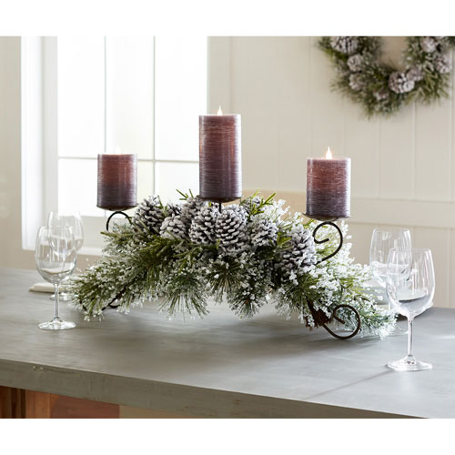 Snowy Pine Candle Holder