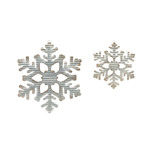 Galvanized Snowflake, Set of Two
