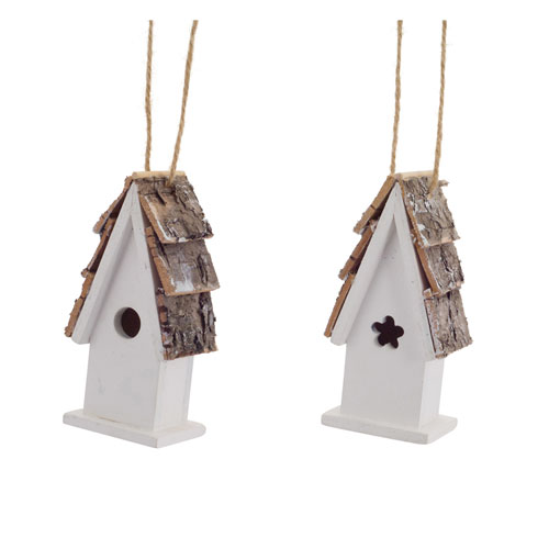 Melrose International Birdhouse Ornament, Set of Twelve