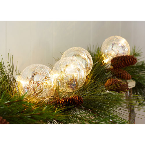 Ball Ornaments with LED Light String, Set of Two