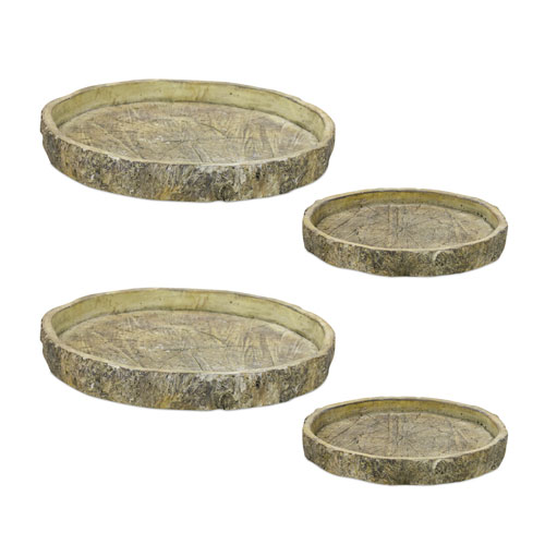 Melrose International Tree Trunk Tray, Set of Four