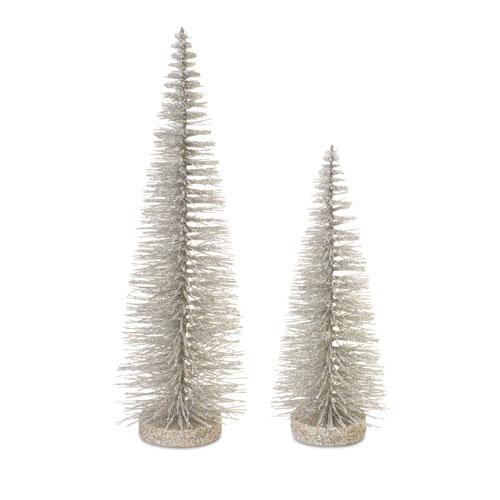 Gray Bottle Brush Trees, Set of Six