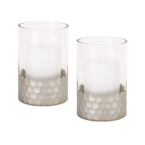 Melrose International Silver and Clear Candle Holder, Set of Two