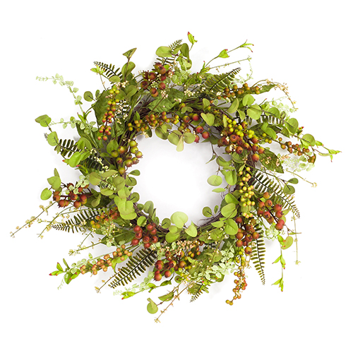 Green and Red Mixed Berry and Foliage Wreath