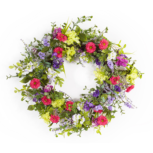 Green and Pink 24-Inch Mixed Floral Wreath