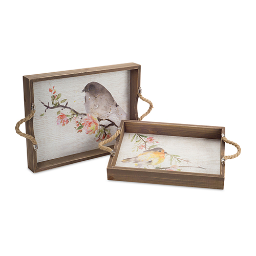Melrose International Brown and White Bird Tray, Set of 2