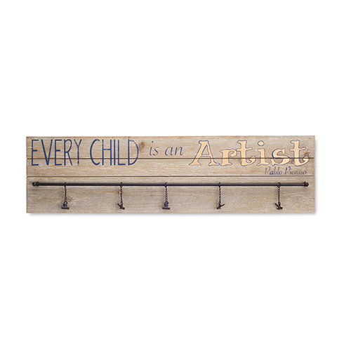 Brown and Black Every Child is an Artist Plaque with Hooks, Set of 2