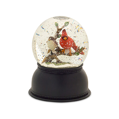 Melrose International Lighted Cardinal Snow Globe, Set of Two