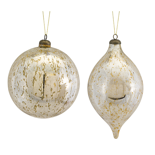 Silver and Gold Ball and Drop Ornament, Set of Four
