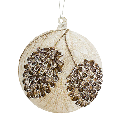 Pine Cone Pattern Ball Ornament, Set of Four