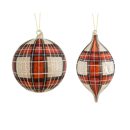 Red and White Plaid Ornament, Set of Four