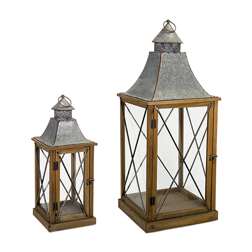 Wood and Tin Lantern, Set of Two