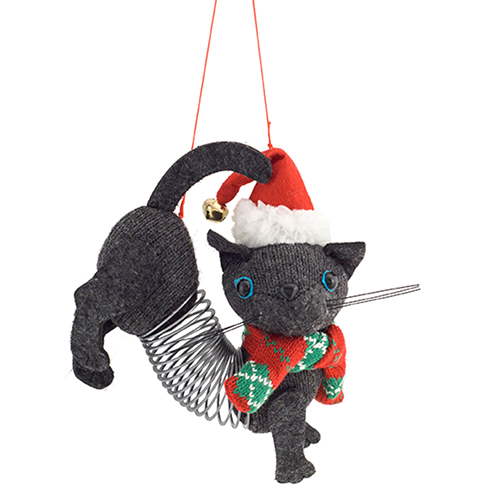 Grey Slinky Cat Ornament, Set of 12