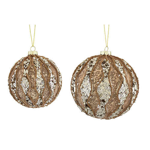 Rose Gold and Silver Ornament, Set of 12