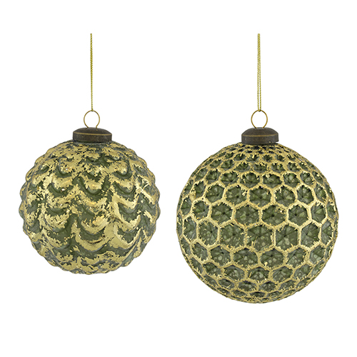 Green and Gold Textured Ball Ornament, Set of 12