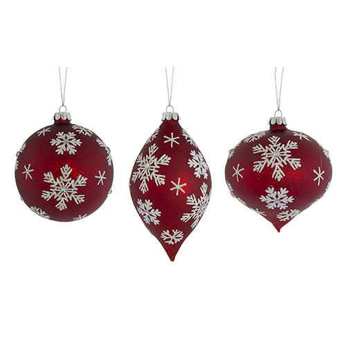 Red and White Snowflake Ornament, Set of Six