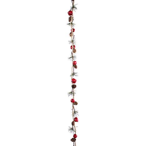 Sleigh Bell and Mini Cone Jute Garland, Set of Six