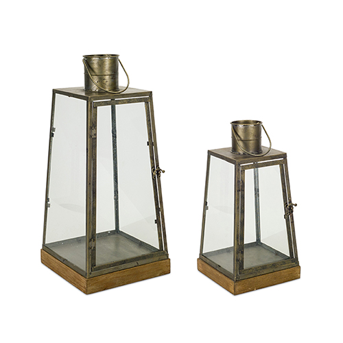 Wood and Copper Lantern, Set of Two